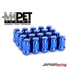 NAKRĘTKI KUTE JAPAN RACING do felg z wąskimi otworami M12x1,5 - SHORT BLUE
