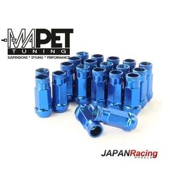 NAKRĘTKI KUTE JAPAN RACING do felg z wąskimi otworami M12x1,5 - LONG BLUE
