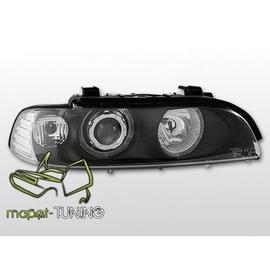 BMW E39 BLACK clearglass Angel Eyes z soczewką + ringi LPBM09